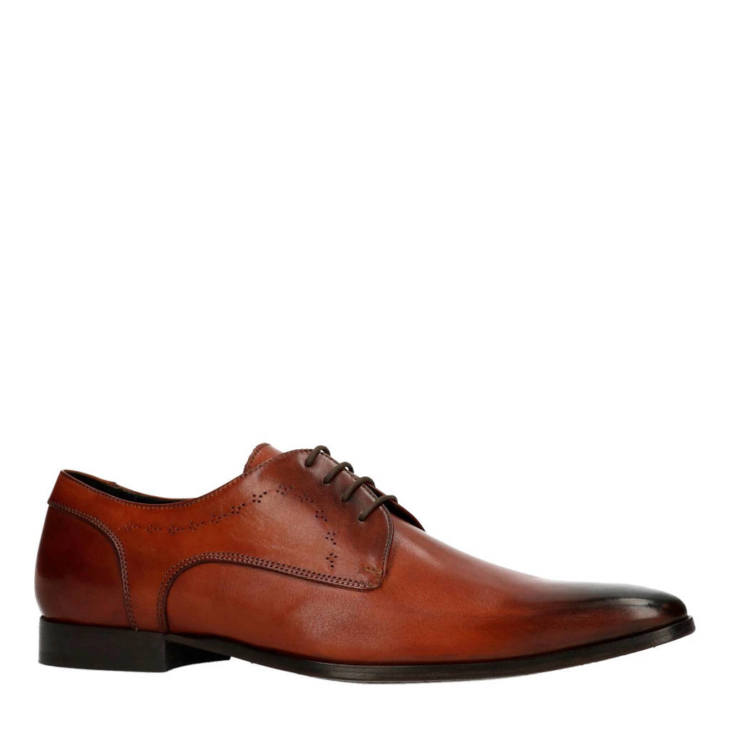 Manfield Black Label leren veterschoenen, Cognac
