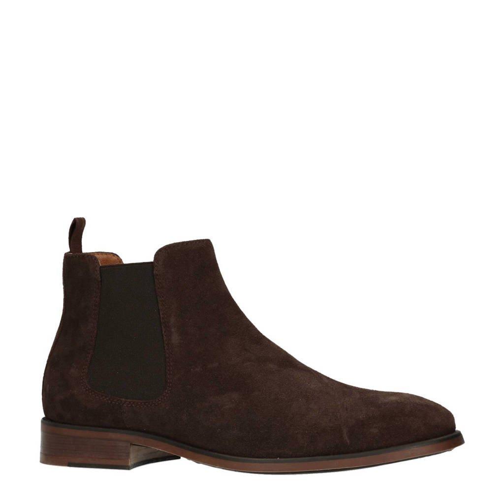 Manfield suède chelsea boots, Donkerbruin