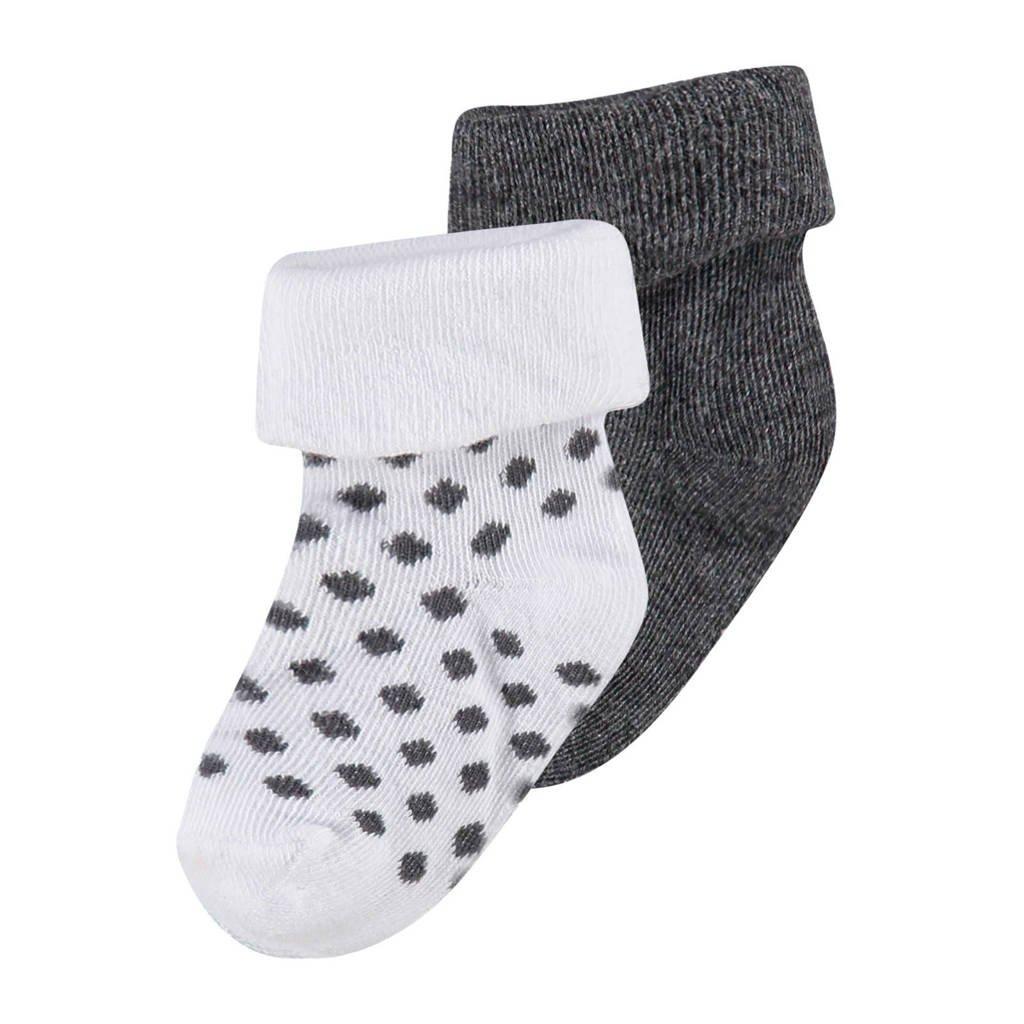 Noppies newborn baby sokken (2 paar), Grijs/wit