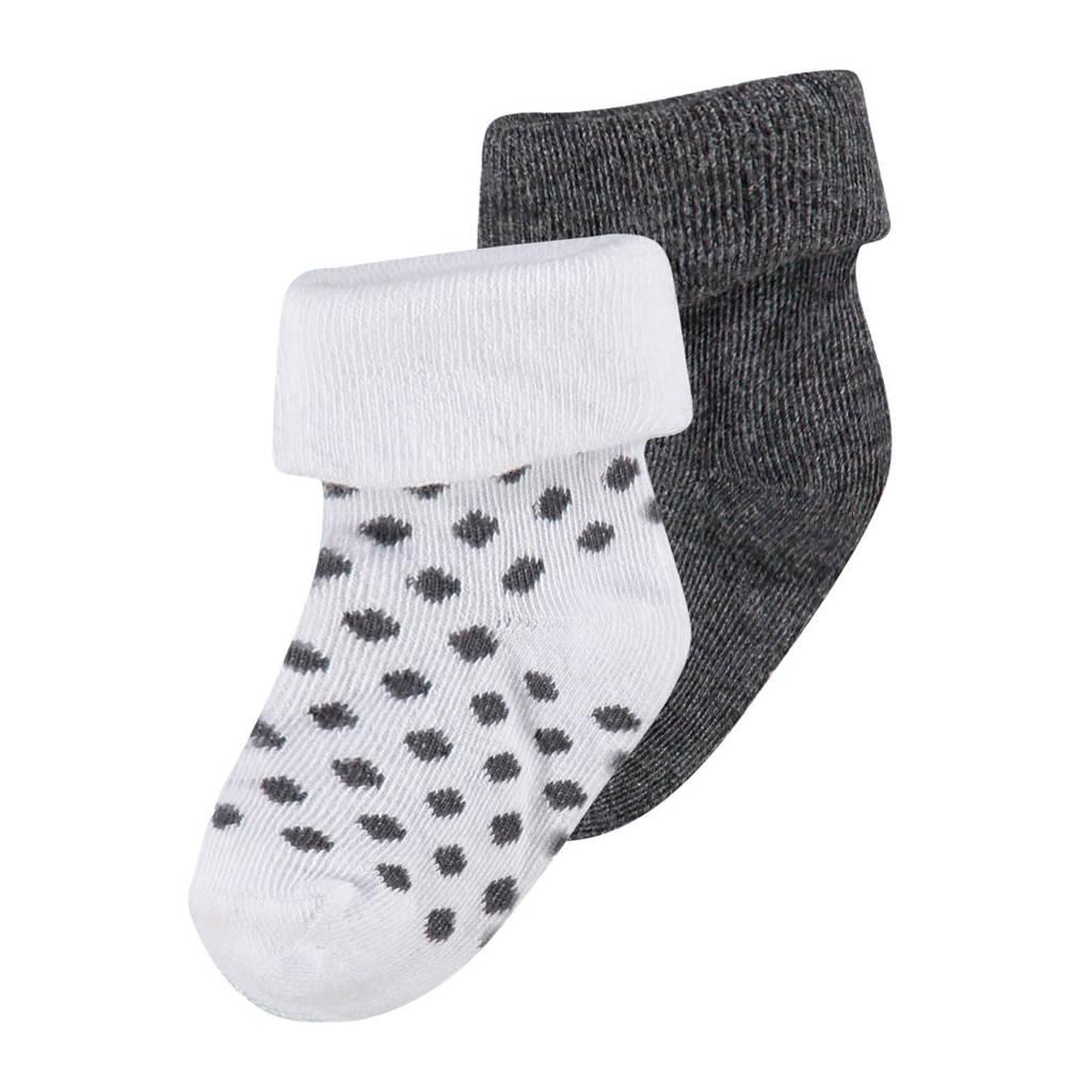 Noppies newborn sokken - 2 paar, Grijs/wit