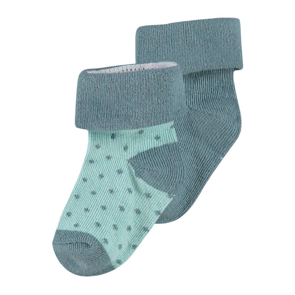 Noppies newborn baby sokken - 2 paar, Donkergroen/mintgroen