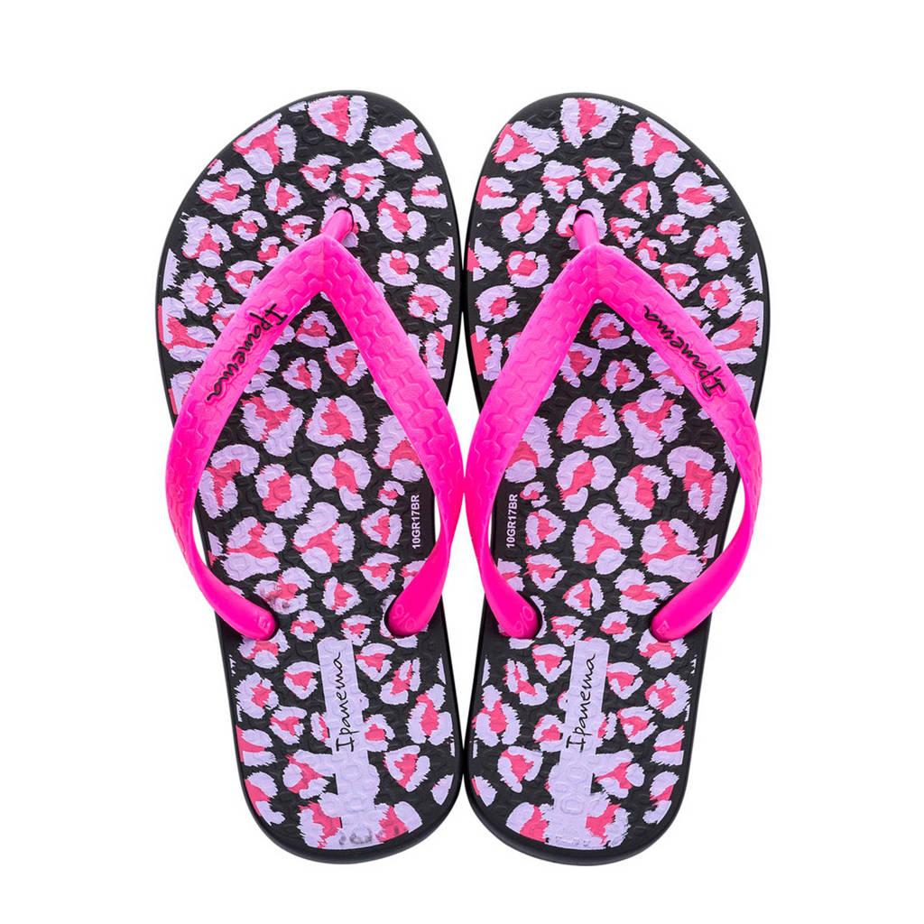 Ipanema teenslippers bloemenprint, Roze/zwart