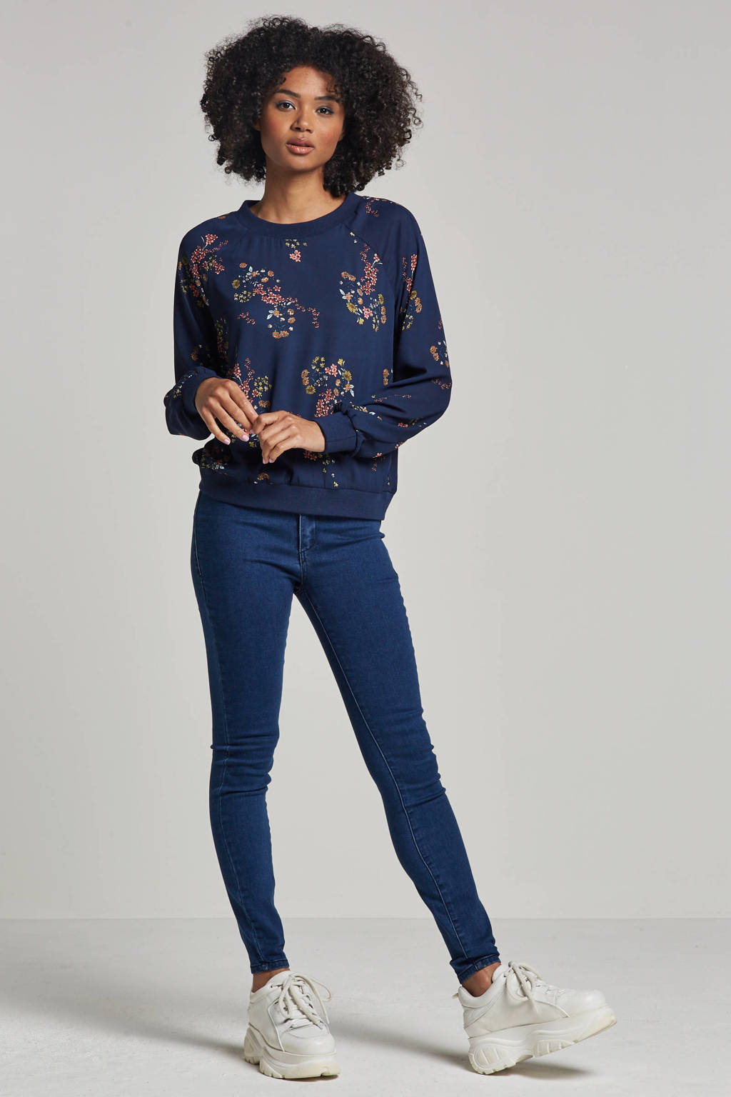Lost Ink high waist skinny fit jegging, Blauw
