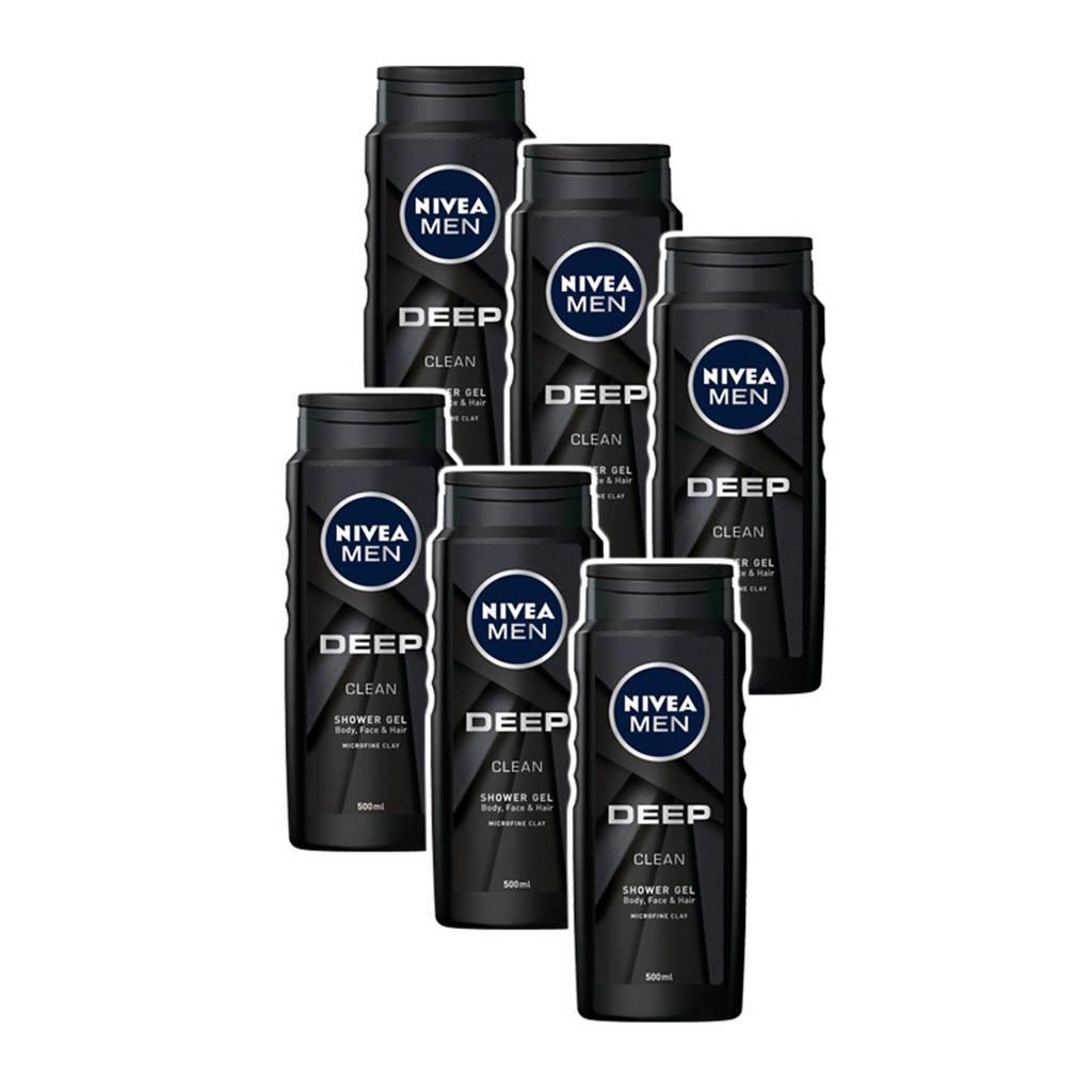 NIVEA FOR MEN Deep Clean Shower gel - multiverpakking 6 x 500 ml