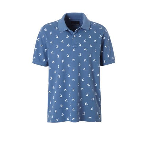 regular fit polo met all-over print blauw