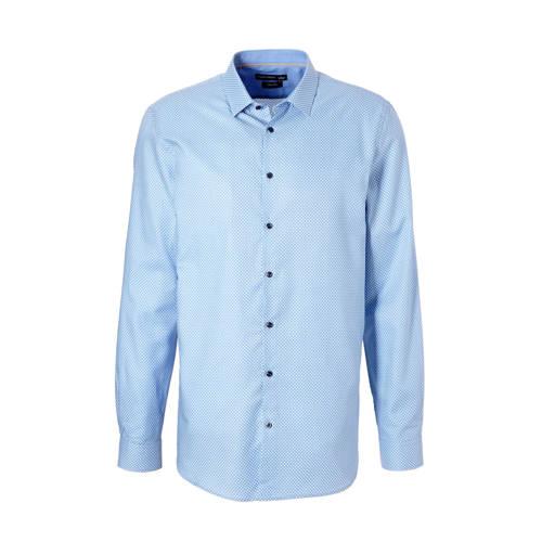 slim fit overhemd met stippen lichtblauw