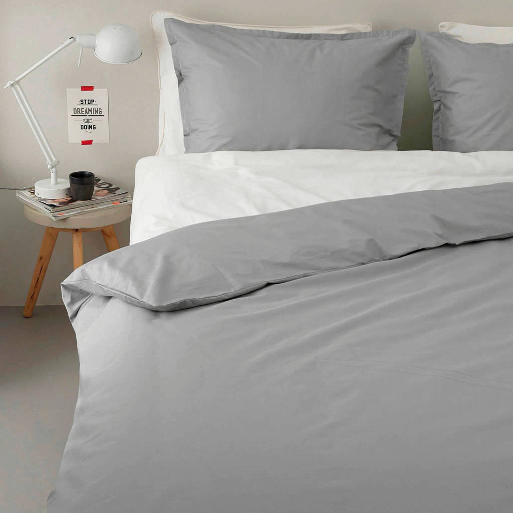 whkmp's own perkalkatoenen (hotel) dekbedovertrek 1 persoons, Grijs, 1 persoons (140 cm breed)