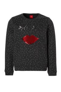 s.Oliver sweater met stippen en pailletten donkerblauw/wit, Donkerblauw/wit