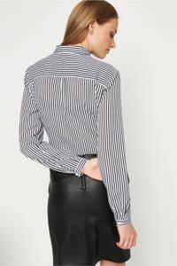 comma gestreepte blouse zwart, Zwart