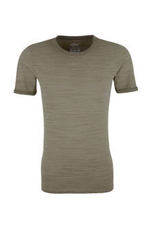 slim fit T-shirt groen