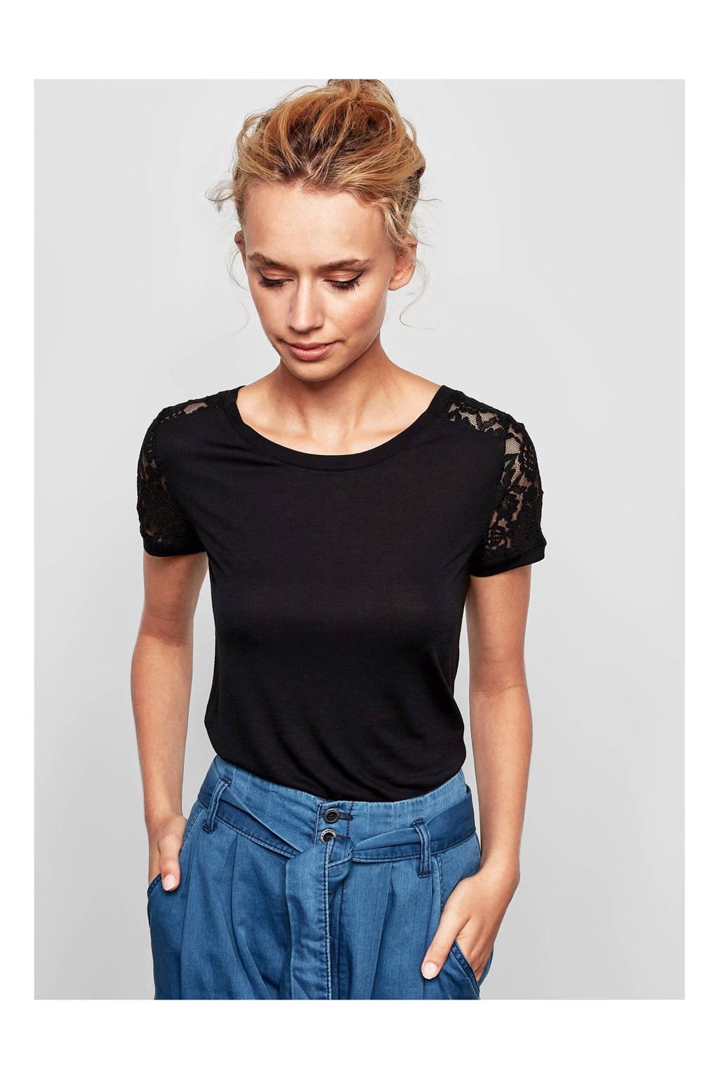 Q/S designed by T-shirt met kant zwart, Zwart