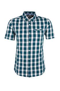 Q/S designed by geruite overhemd petrol (heren)