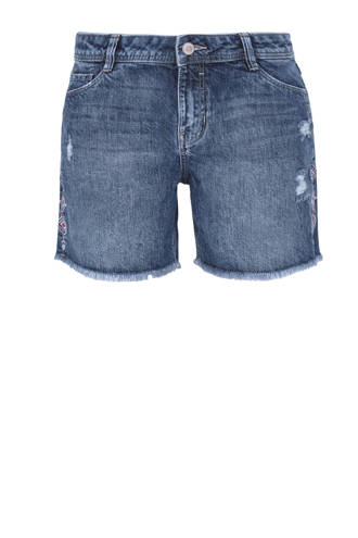 regular fit jeans short met slijtage