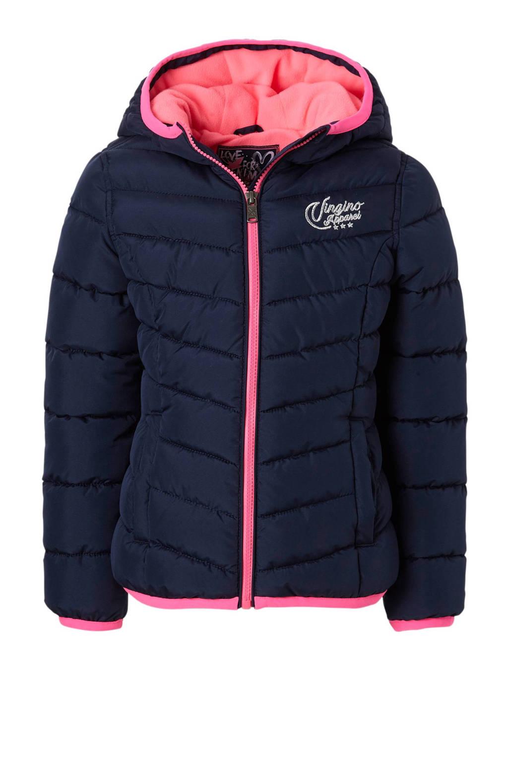 Vingino winterjas Tjessa donkerblauw, Donkerblauw/roze