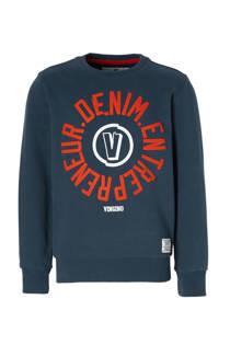 Vingino sweater Nojien met tekst blauw