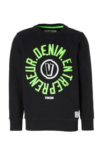 sweater Nojien met tekst zwart