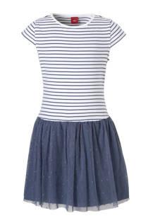 s.Oliver RED LABEL jurk met mesh donkerblauw