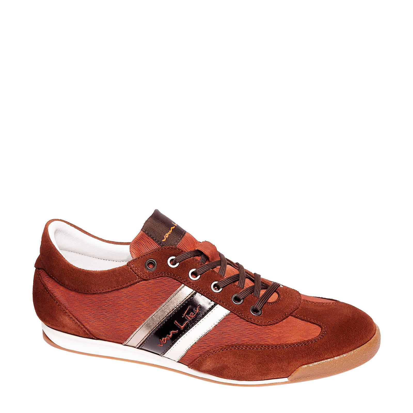 Van Lier leren sneakers met suède cognac (heren)