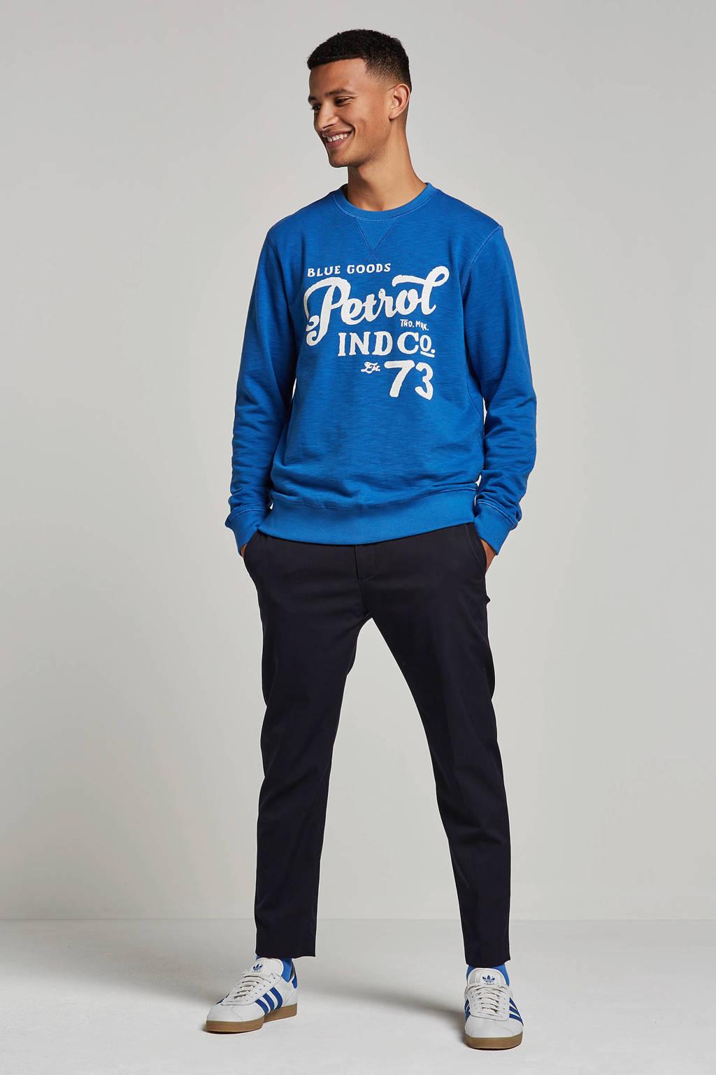Petrol Industries sweater met print blauw, Blauw