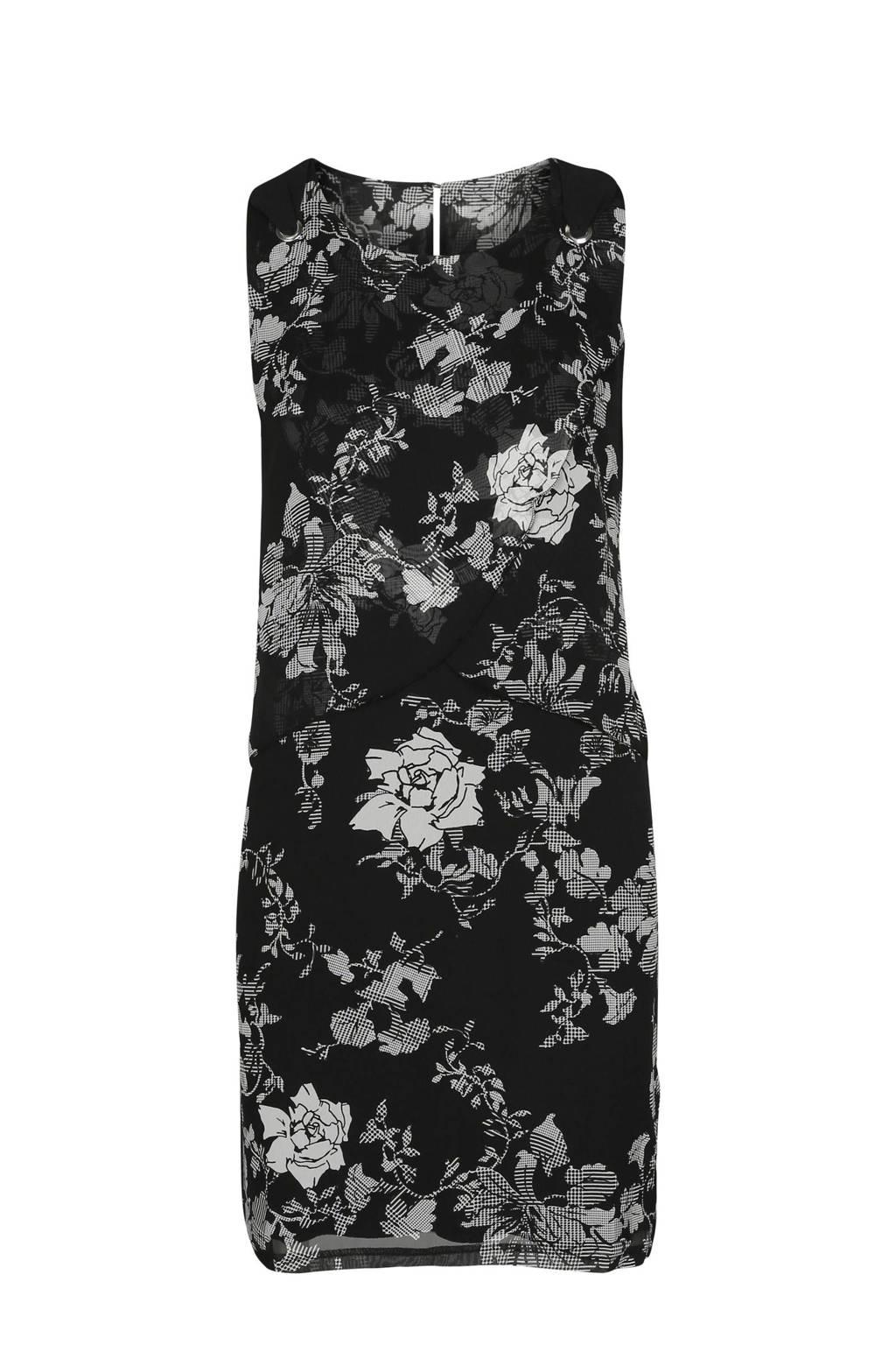 Cassis jurk met bloemenprint zwart, Zwart/ecru