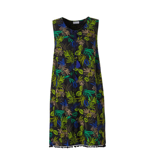 jurk met plantenprint zwart