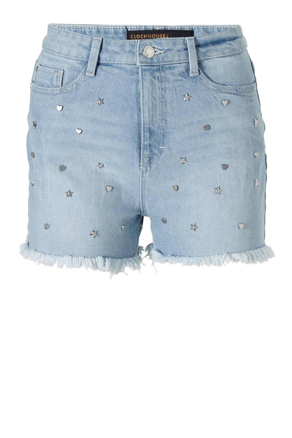 C&A Clockhouse high waisted jeans short met studs, Lichtblauw