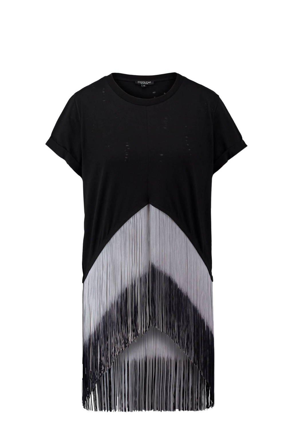 CoolCat top zwart, Zwart/wit
