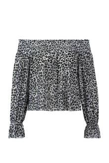 off shoulder top met luipaard print grijs