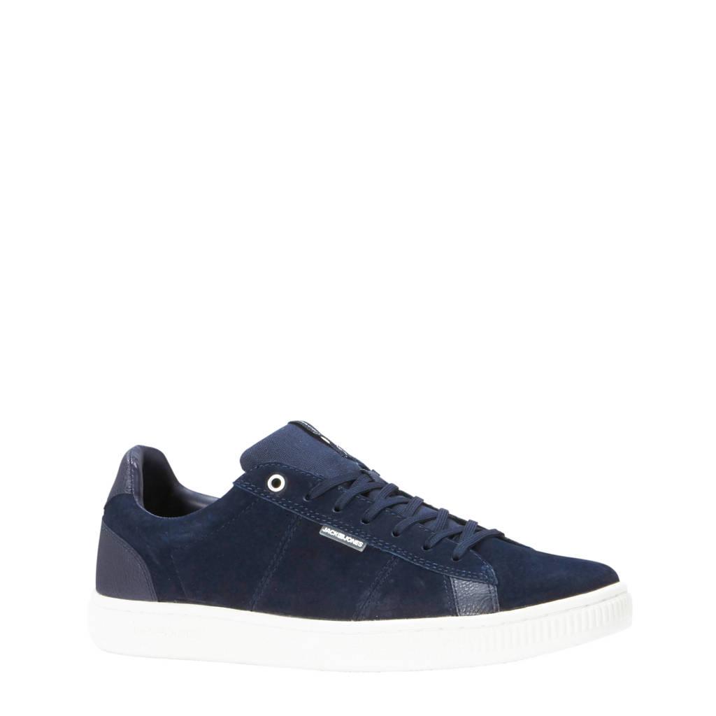 JACK & JONES   leren sneakers donkerblauw, Donkerblauw / Wit