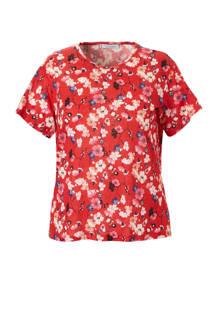 gebloemd linnen T-shirt rood