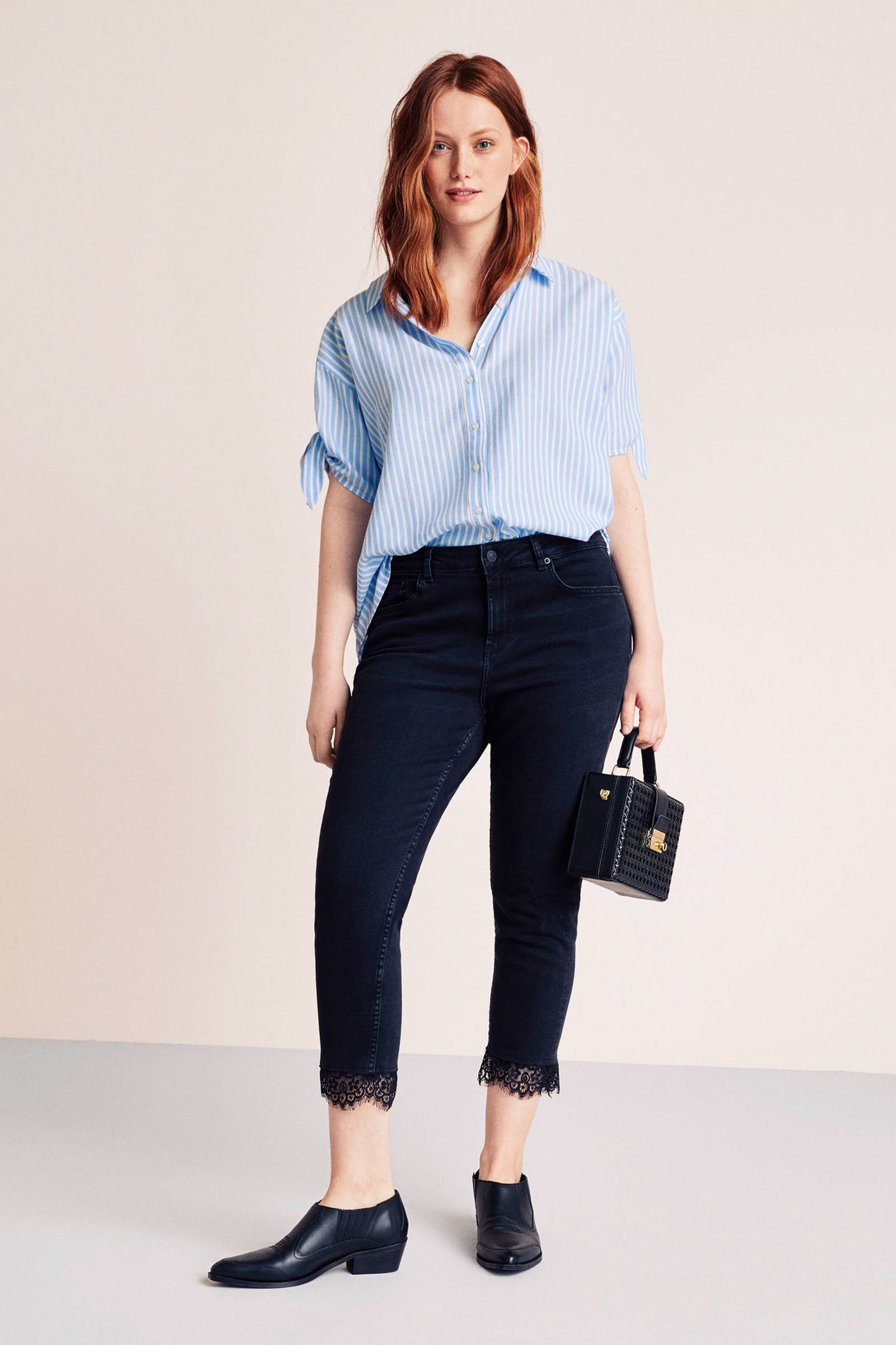 blouse blauw wit gestreept