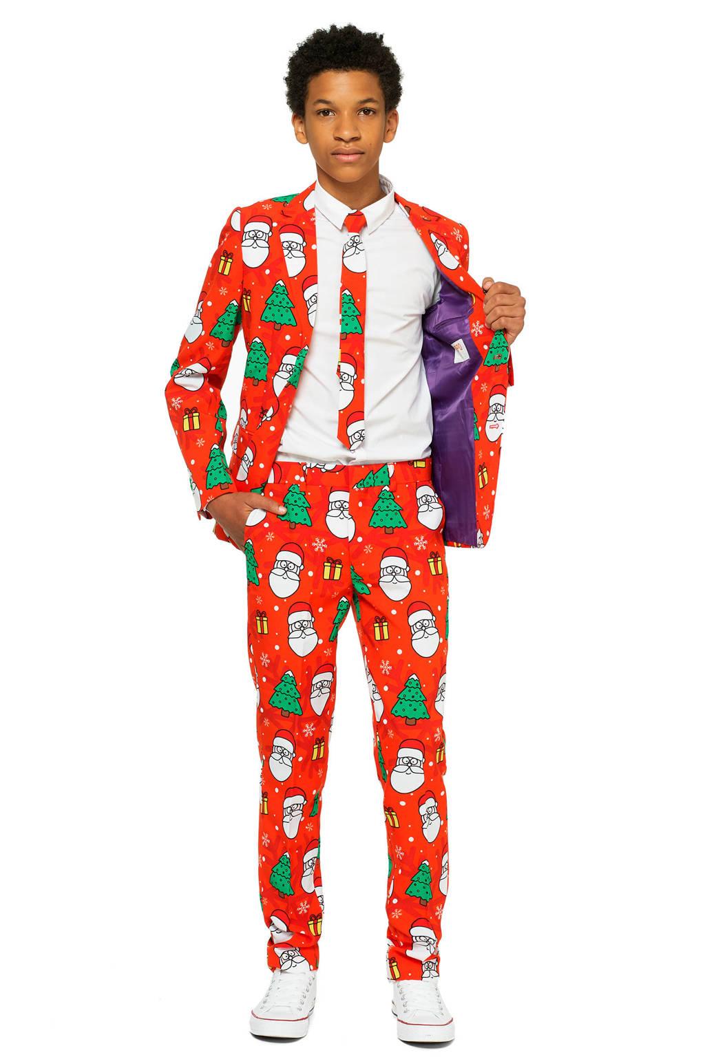 Opposuits Holiday Hero jongens kostuum + clipdas, Rood/wit/groen