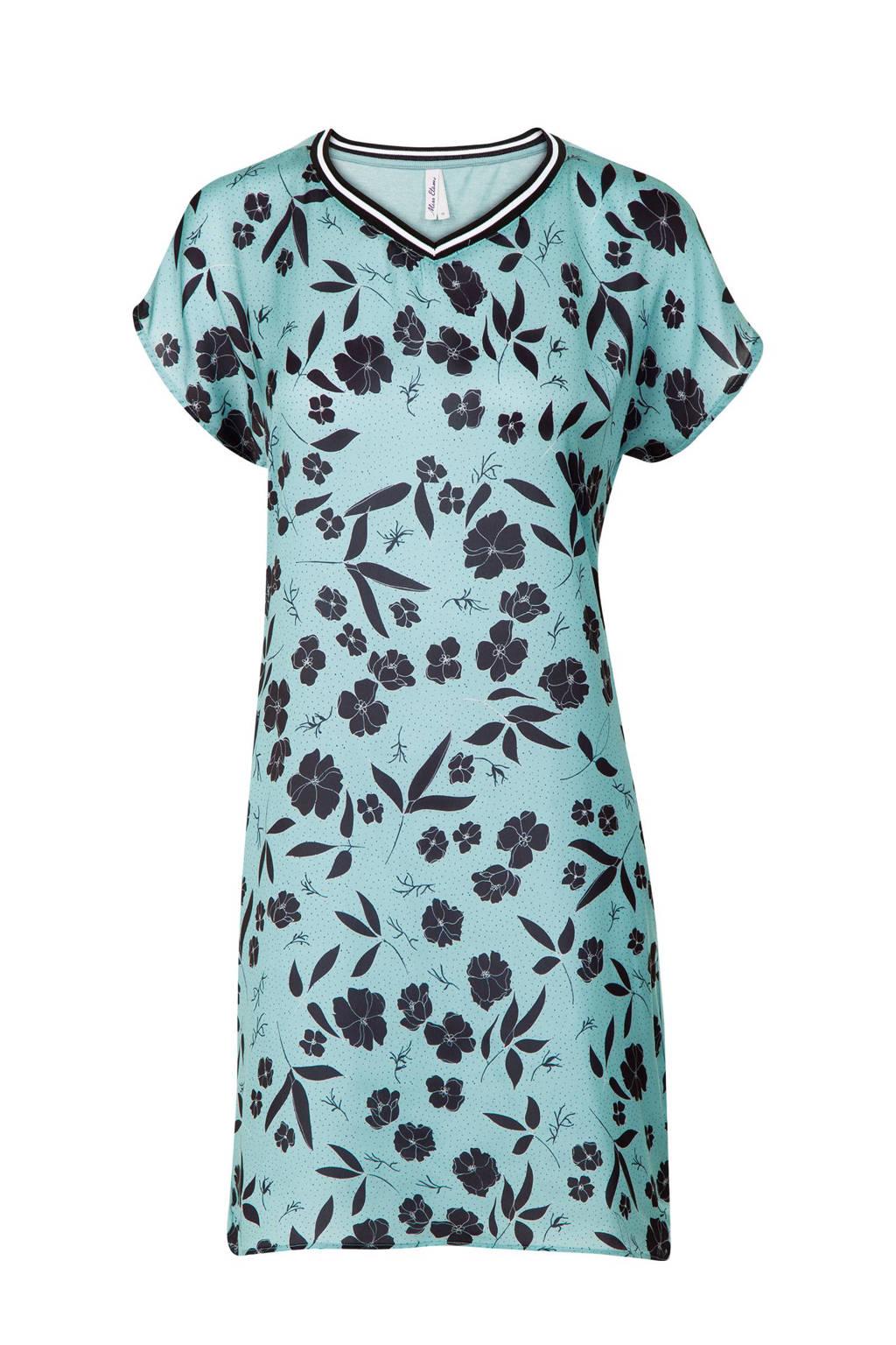 Miss Etam Lang tuniek met bloemenprint, Turquoise