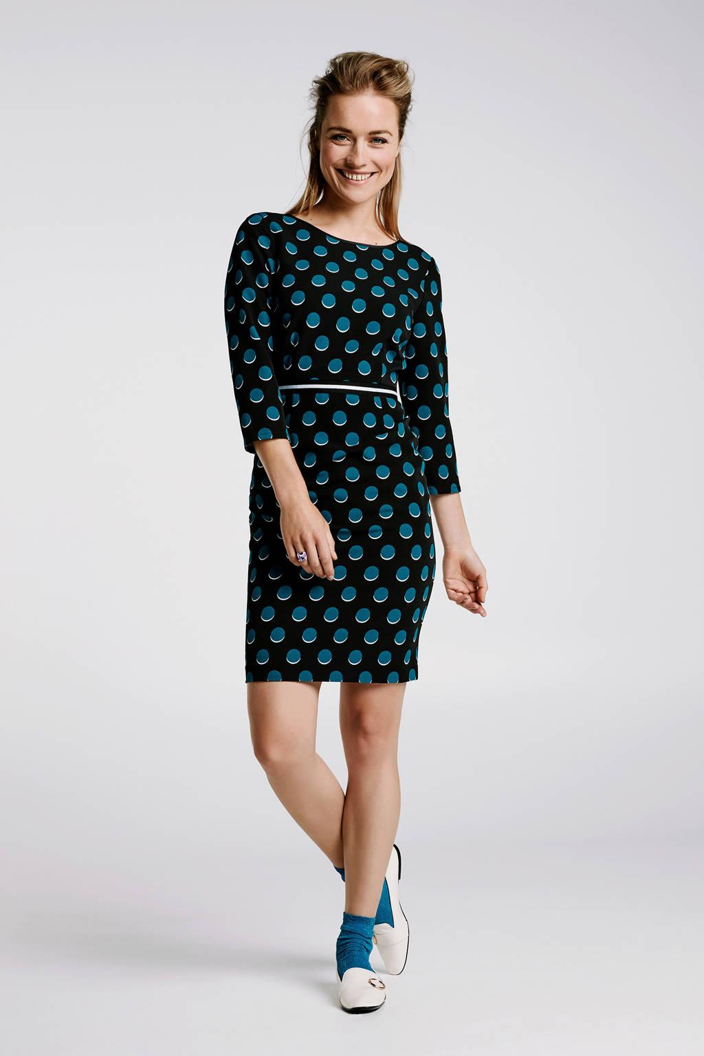Steps jersey jurk met stippen groen/zwart, Groen/zwart