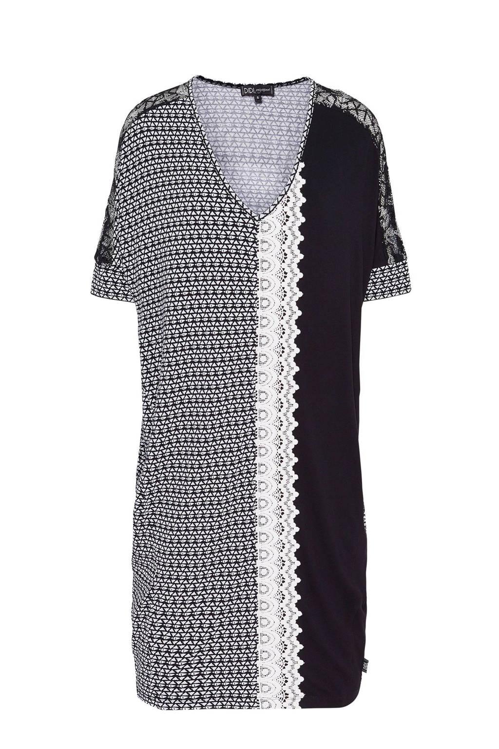 Didi jurk met allover print zwart, Zwart/wit