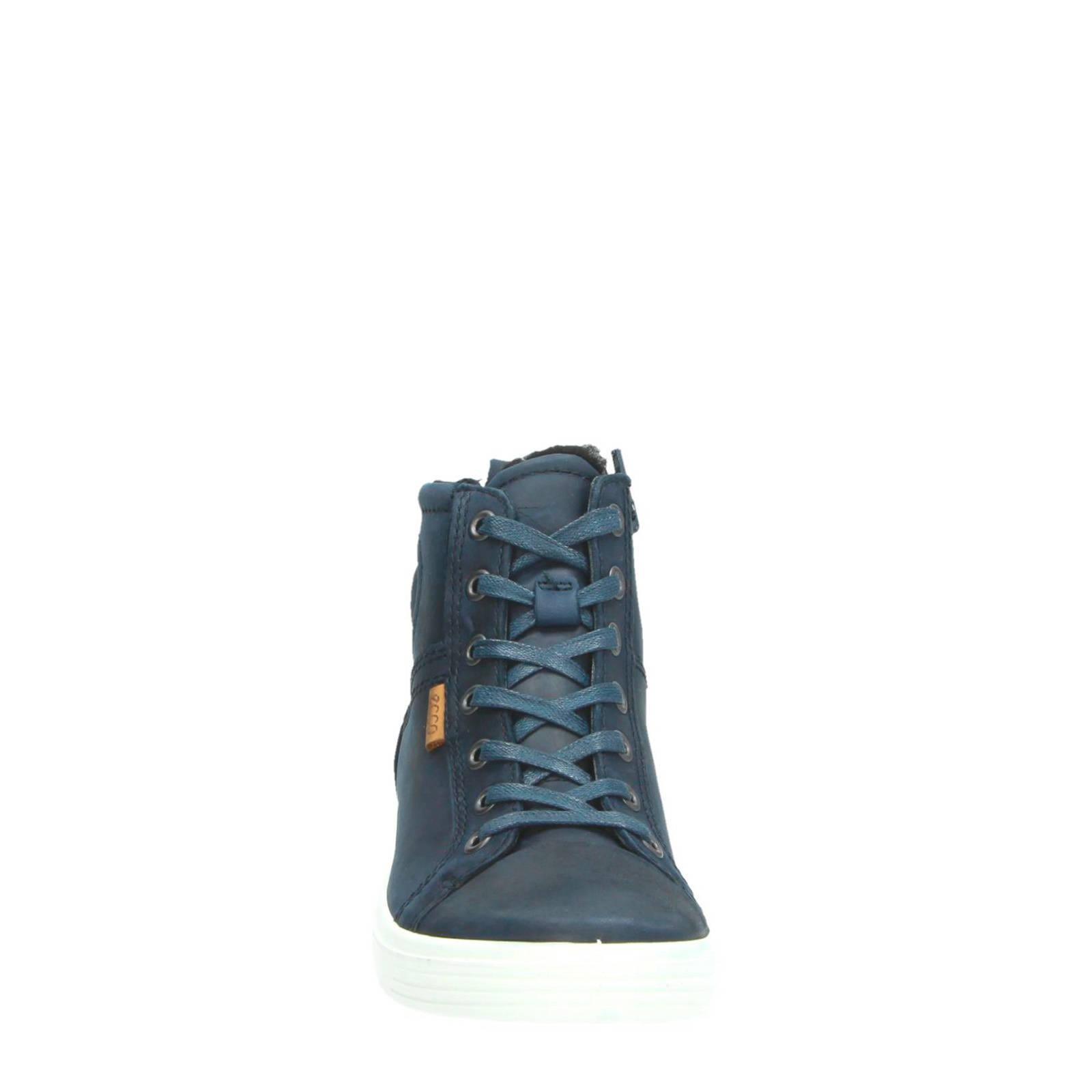 Ecco nubuck sneakers donkerblauw | wehkamp