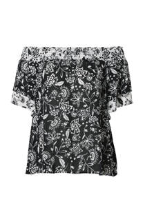 C&A Yessica gebloemde off shoulder top zwart/wit (dames)