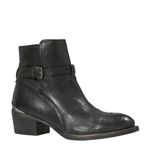 leren cowboy boots zwart