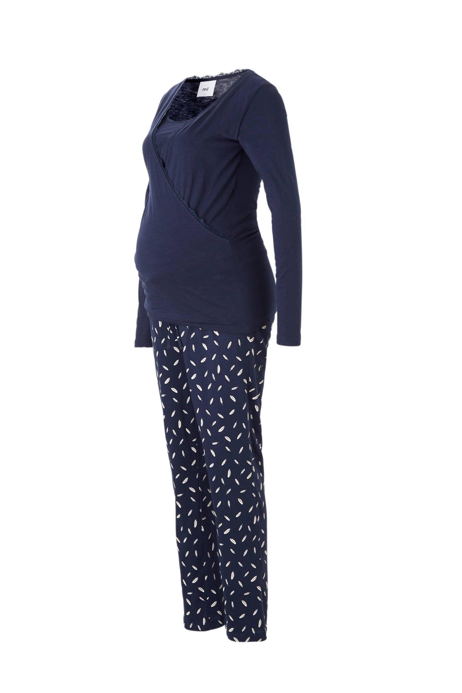 Zwangerschapskleding Pyjama.Mama Licious Positie Pyjama Met Veren Blauw Wit Wehkamp