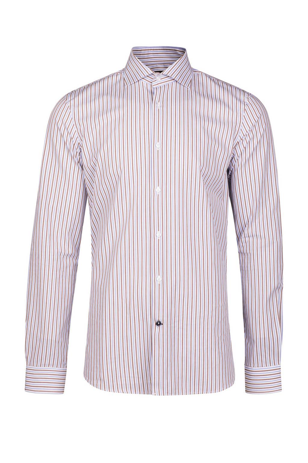 WE Fashion gestreept slim fit overhemd lichtblauw, lichtblauw/beige