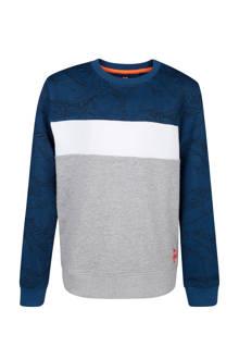 sweater met bladerprint grijs/blauw