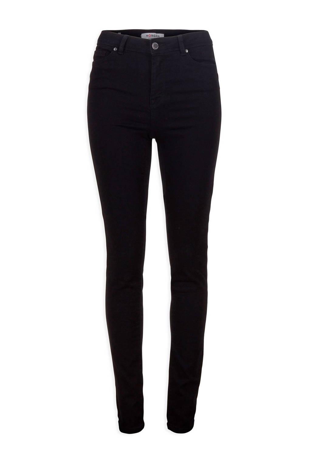 Morgan cropped high waist skinny jeans zwart, Zwart