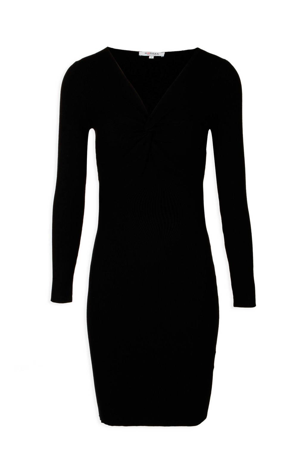 Morgan gebreide jurk met V-hals zwart, Zwart