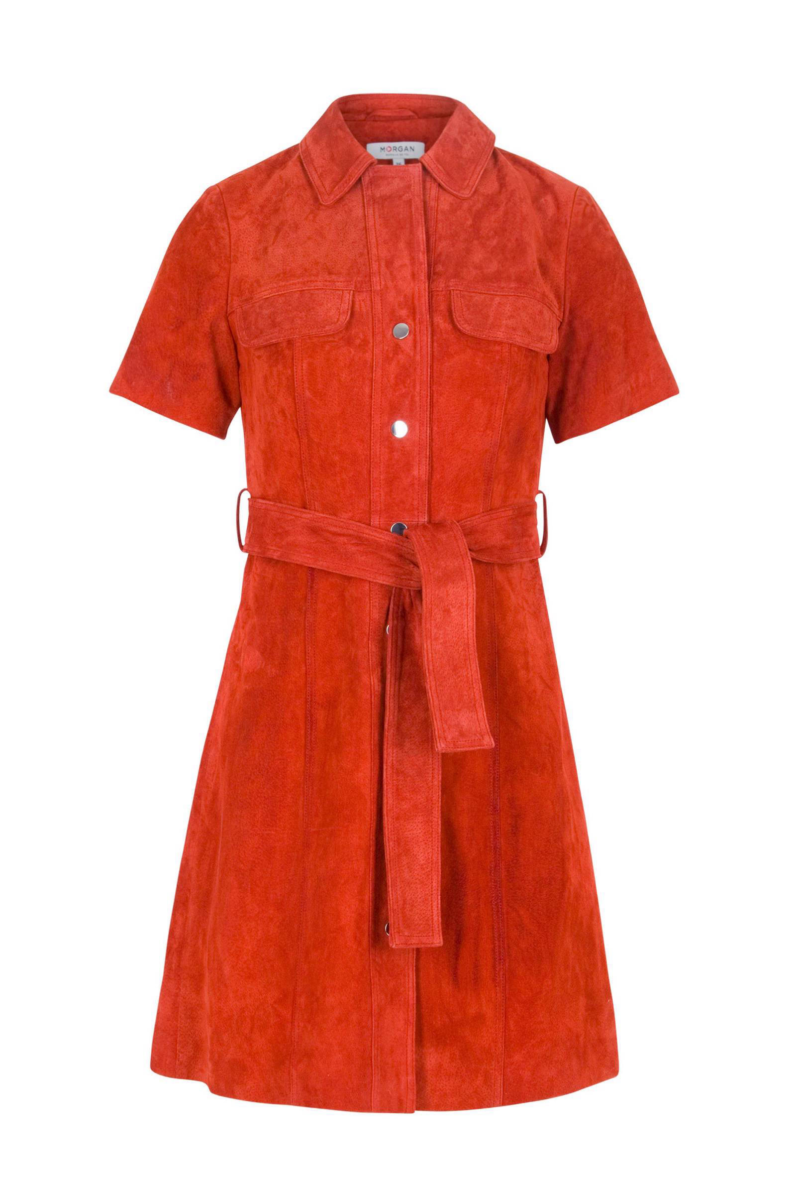 Morgan suède jurk roodoranje (dames)