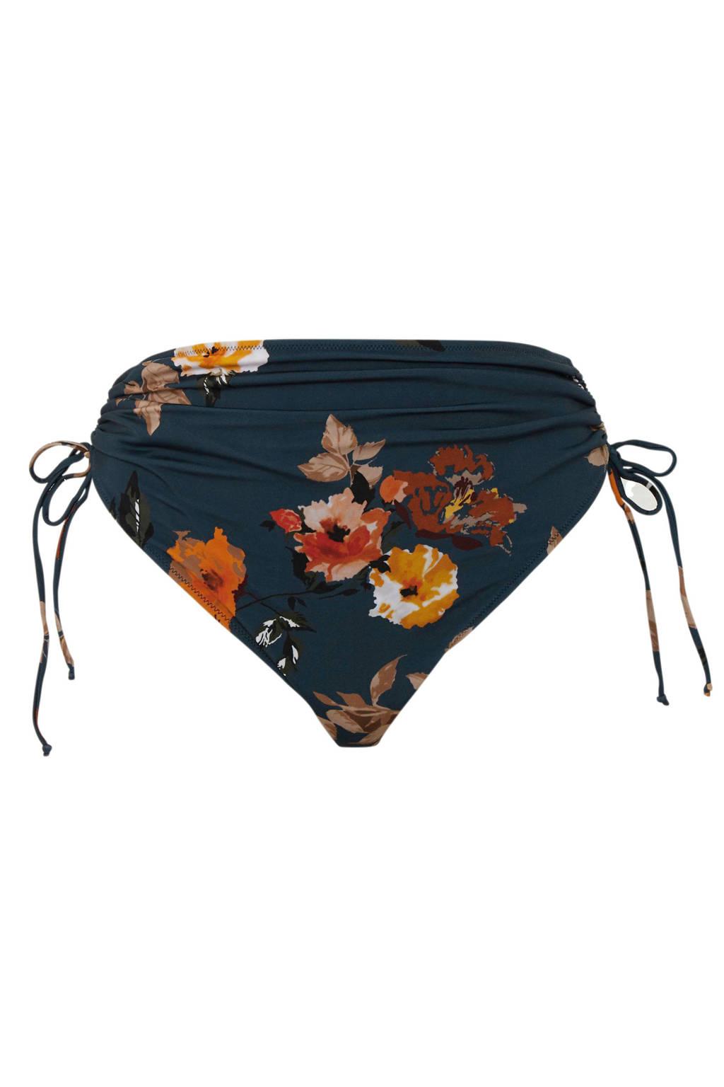 Zizzi Mix & Match corrigerende bikinibroekje +size met bloemenprint blauw, Blauw/bruin/geel