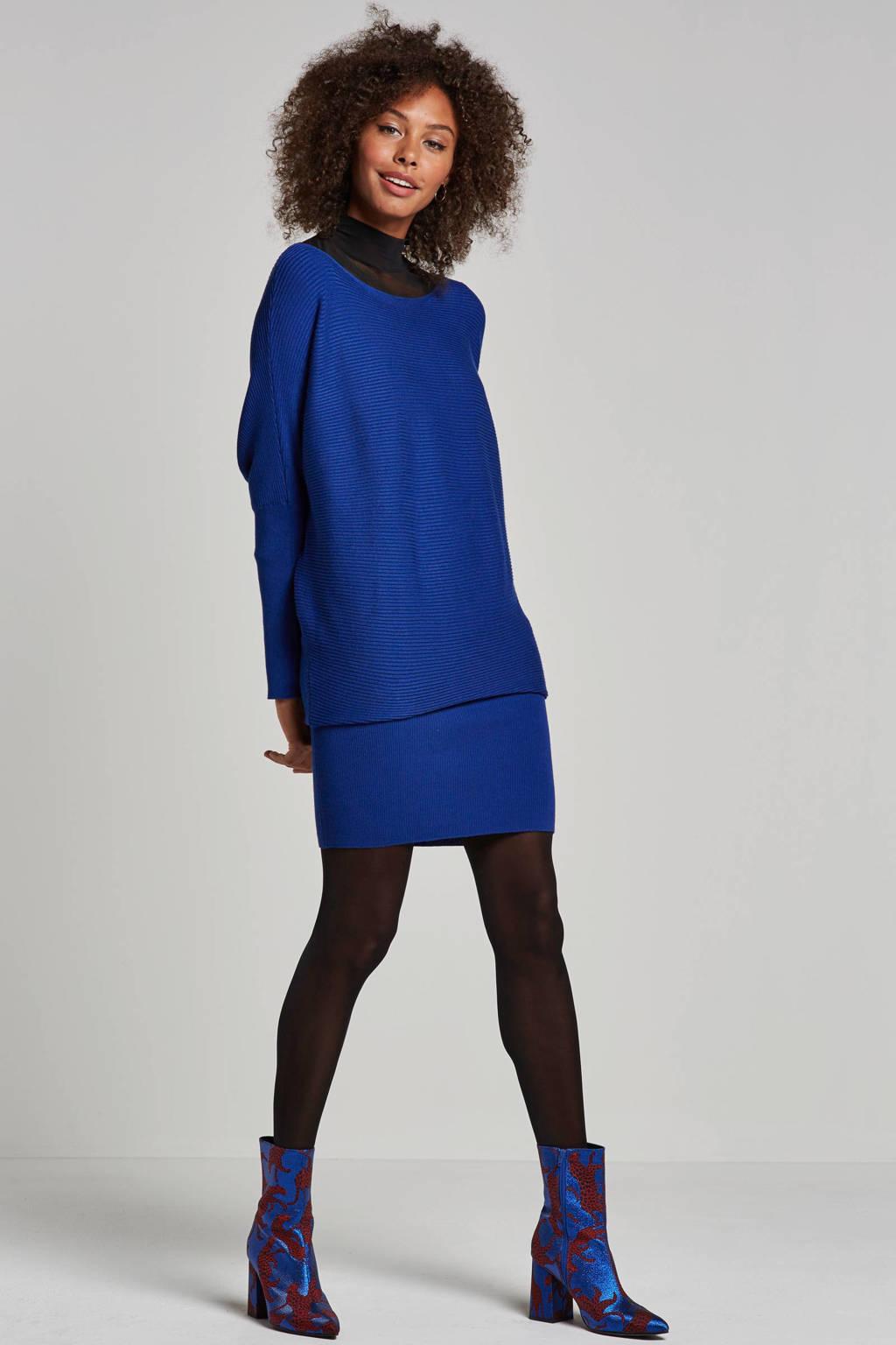 whkmp's own fijnbrei jurk met vleermuismouw, Kobaltblauw