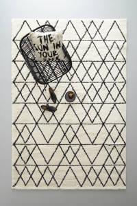 whkmp's own vloerkleed  (290x200 cm), Roomwit/zwart