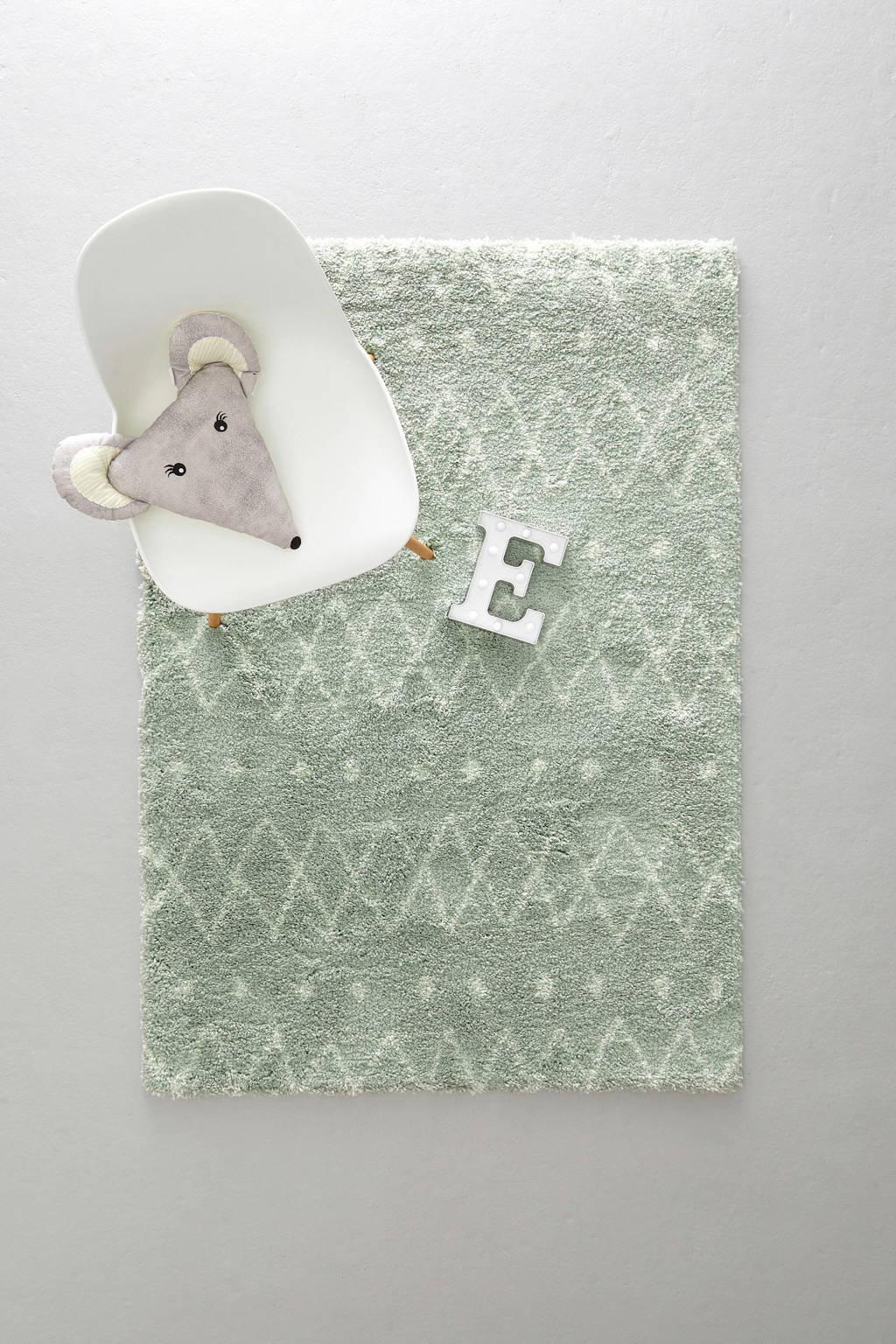whkmp's own vloerkleed  (170x120 cm), Mineraalgroen/roomwit