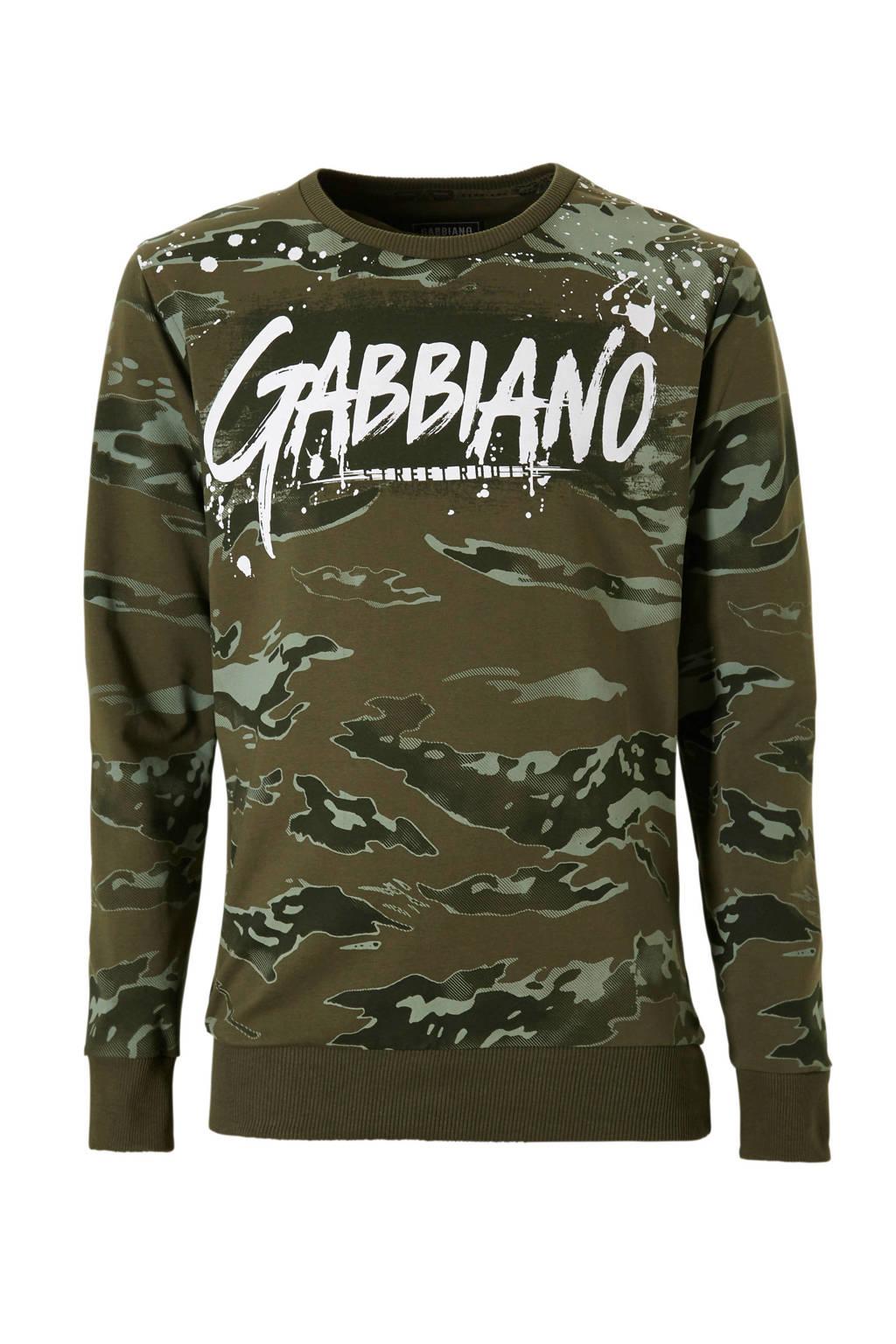 GABBIANO sweater met camouflageprint kaki, kaki/wit