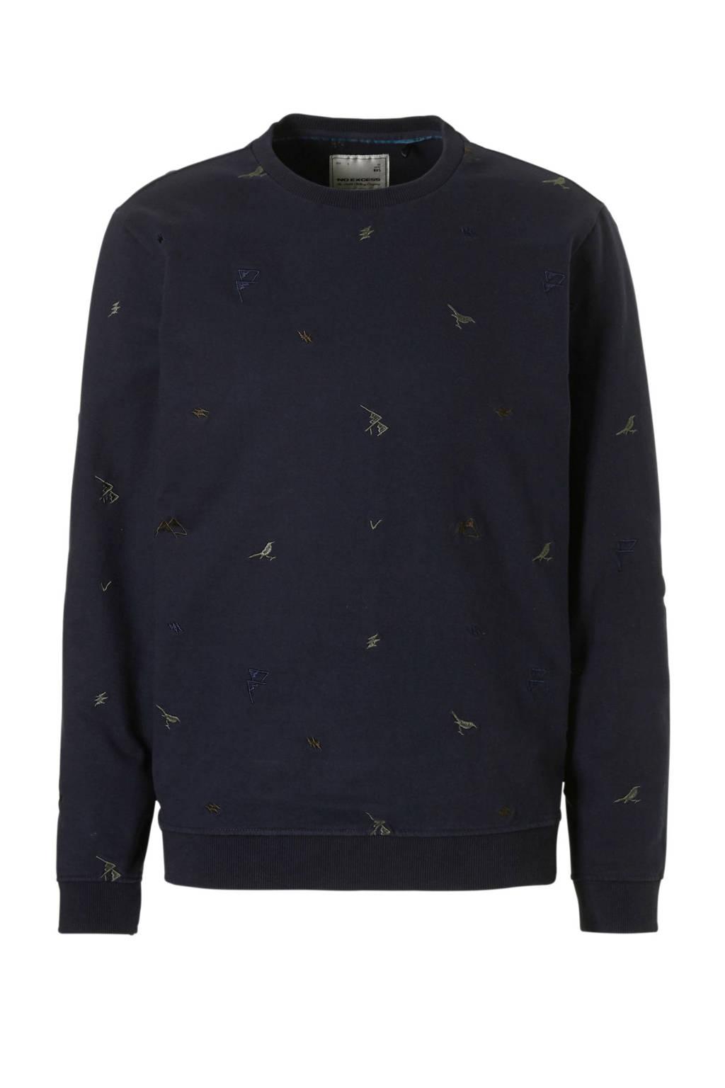 No Excess sweater met borduursels marine, Marine